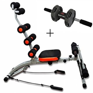 Ibs Fitness Six pack abs Rocket Twister Home  Gym Abs Cruncher Body Builder WITH Bodi pro roller Ab Exerciser (Black)