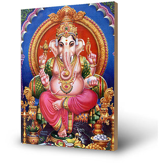 The Hindu Lord Ganesha Photo Print On Wooden