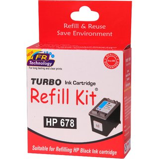 Turbo refill kit for hp 678 black ink cartridge
