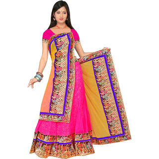 Surat Tex Designer Wear Pink Net & Jaquard Unstitched Lehanga B38Se3189Nafr