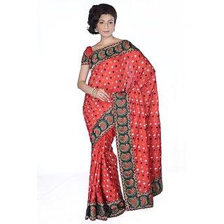 Ambition Orange Linen Self Design Saree With Blouse