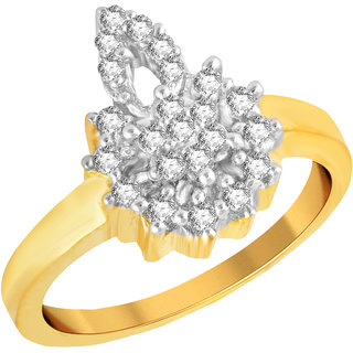 Casted in Brass metal and with the royal high Gold Plated look, you'll be making many heads turn with the whimsical sway of these american diamond Ring every time you will make a movement.