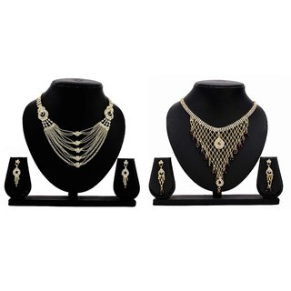 Dealseven Fashion Presents Golden Color Alloy Combo Neckless Set.