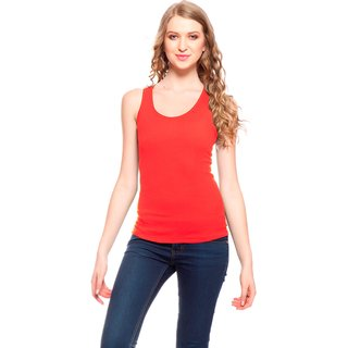 Akaas Red Cotton Blend Solid Camisole