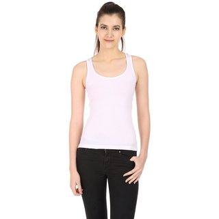 Akaas White Cotton Blend Solid Camisole