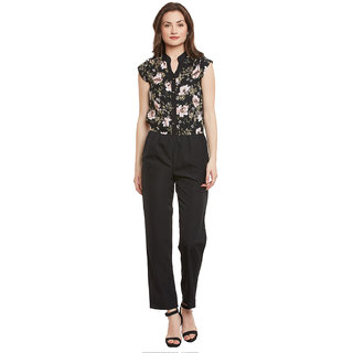 Ruhaans Black Crepe Floral Jumpsuits For Women