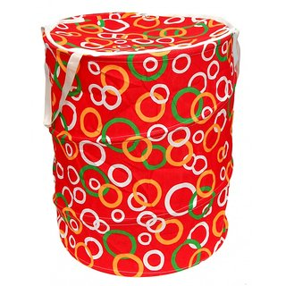 Winner Small Size Red, Green And White Round Print Folding Laundry Bag To Organize Cloths