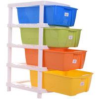 TRUENOW Ventures Pvt. Ltd.MulticolorPlastic Multipurpose 4-Tier Utility Rack