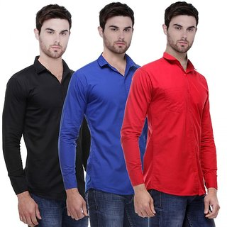 Balino London Solid Full Sleeves Casual Poly-Cotton Shirts For Men Combo of 3