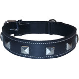 Petsplanet High Quality Leather Collar With Studs 1.5 Inches - BLACK