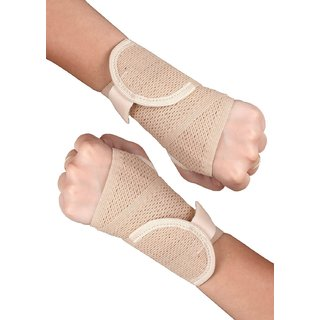Healthgenie Wrist Brace with Thumb Support One Size Fits Most (1 Pair - Beige)