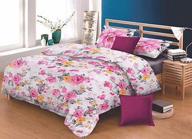 Guruneek Fashion Cotton Double Bedsheet with 2 Pillow Covers