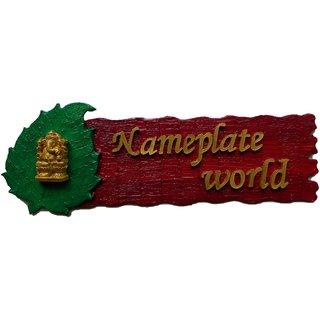 Designer Name Plate for home Red Bliss wooden nameplate by NameplateWorld