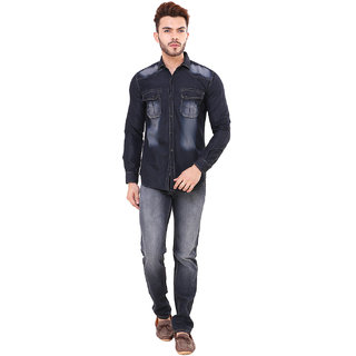 Visach stylish look denim shirt for Men(VSSHT8007BLK)