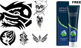TEMPORARY BODY TATTOO PACK OF 24.. FREE 100 GMS OF ASSURE SHAVING CREAM