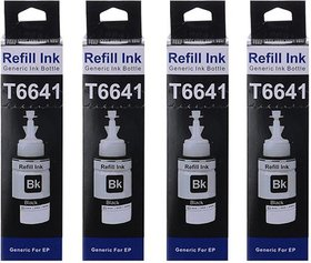 compatible black ink for epson t664(l100/l210) pack of 4 pcs bottles