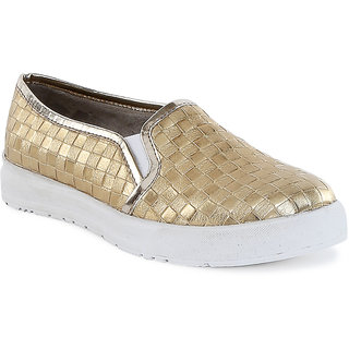 Catwalk Womens Gold Loafers