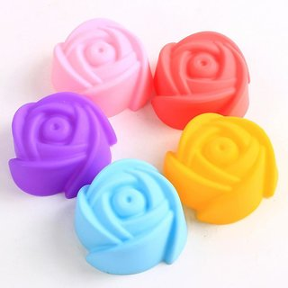 SILICONE ROSE SHAPE BAKEWARE CAKE, MUFFINS TART AND CUP CAKE MOULDS - SET OF 3PCS