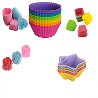 COMBO OF SILICONE ROUND SQUARE ROSE HEART AND STAR SHAPE BAKEWARE CAKE, MUFFINS TART AND CUP CAKE MOULDS - SET OF 15PCS