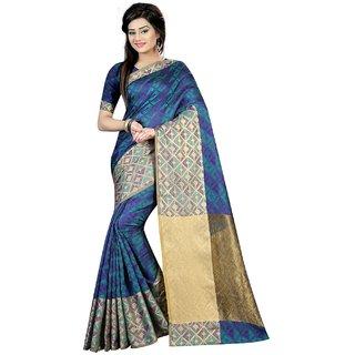 New Designer Saree  Rama And Purple Woven Nylon Lichi Silk Party Wear Designer Jacquard Saree With Blouse