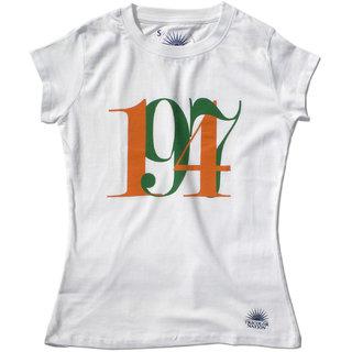 """Tricolor Nation Tricolour Patriotic Women's T-shirt """"1947"""" (White)"""