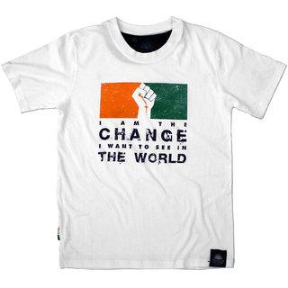 """Tricolor Nation Tricolour Patriotic Mens T-shirt """"I Am The Change"""" (White)"""