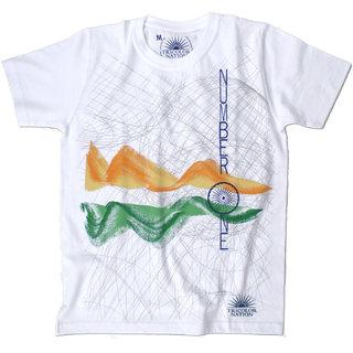 """Tricolor Nation Tricolour Patriotic Men's T-shirt """"Number 1"""" (White)"""