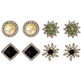 Shreya Collection Multicolour Stud Earring for Women (Combo of 4) - 10030.2