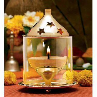 Yadav Decor Brass Akahand Glass Table Diya