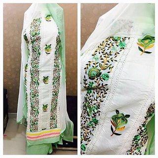 Women Latest Designer Wear Dress Materials In WHite Color (Unstitched)