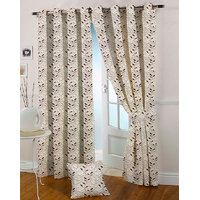 Presto Coffee Colour Jacquard Eyelet Long Door Curtains(9Ft)-ICGJ22F9