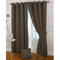 Presto Coffee Colour Jacquard Eyelet Window Curtains(5Ft)-ICMC43F5