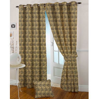 Presto Golden Colour Jacquard Eyelet Long Door Curtains(9Ft)-ICSA03F9
