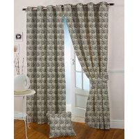 Presto Black Grey Colour Jacquard Eyelet Door Curtains(7Ft)-ICSA05F7