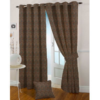 Presto Coffee Colour Jacquard Eyelet Window Curtains(5Ft)-ICSA12F5