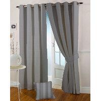 Presto Black Grey Colour Jacquard Eyelet Door Curtains(7Ft)-ICSA45F7