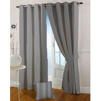Presto Black Grey Colour Jacquard Eyelet Long Door Curtains(9Ft)-ICSA45F9
