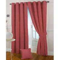 Presto Maroon Colour Jacquard Eyelet Window Curtains(5Ft)-ICSA51F5