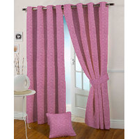 Presto Pink Colour Jacquard Eyelet Long Door Curtains(9Ft)-ICSA54F9