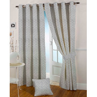 Presto Black Grey Colour Jacquard Eyelet Long Door Curtains(9Ft)-ICSA55F9