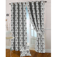 Presto Coffee Colour Jacquard Eyelet Long Door Curtains(9Ft)-ICVG02F9