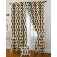 Presto Coffee Colour Jacquard Eyelet Long Door Curtains(9Ft)-ICVR02F9