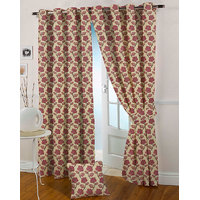 Presto Pink Colour Jacquard Eyelet Door Curtains(7Ft)-ICVR04F7