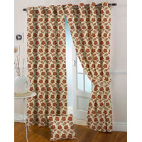 Presto Rust Colour Jacquard Eyelet Long Door Curtains(9Ft)-ICVR06F9