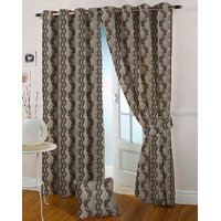 Presto Coffee Colour Jacquard Eyelet Window Curtains(5Ft)-ICVR22F5