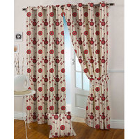 Presto Maroon Colour Jacquard Eyelet Door Curtains(7Ft)-ICVR51F7