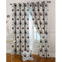 Presto Coffee Colour Jacquard Eyelet Window Curtains(5Ft)-ICVR52F5