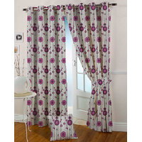 Presto Pink Colour Jacquard Eyelet Long Door Curtains(9Ft)-ICVR54F9