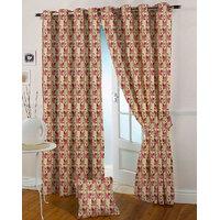 Presto Pink Colour Jacquard Eyelet Door Curtains(7Ft)-ICVR64F7