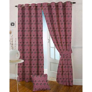 Presto Pink Colour Jacquard Eyelet Long Door Curtains(9Ft)-ICSA14F9